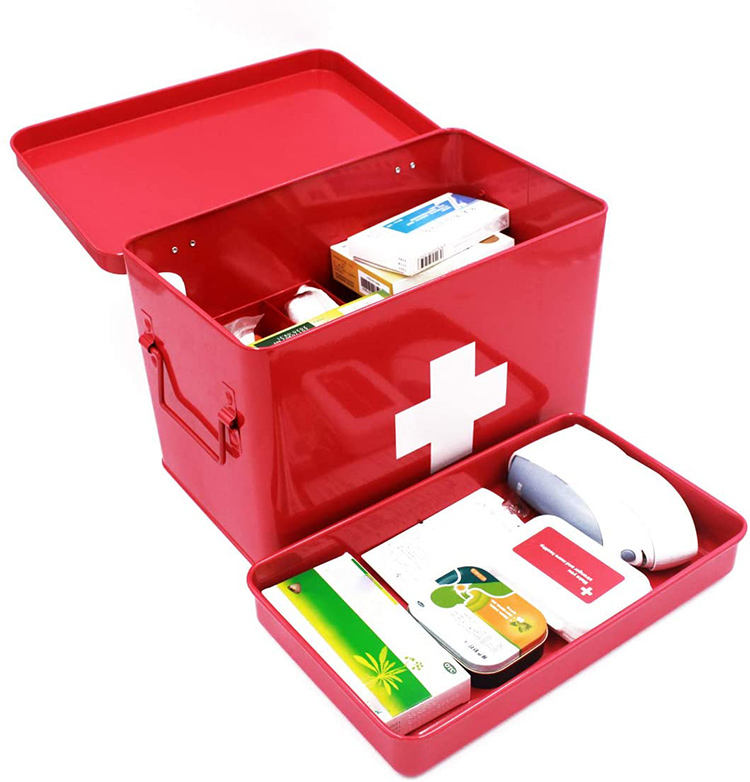 Cookmate Large Vintage Home/Hosptial Use Metal Medicine Box First Aid Kit Box Storage Box