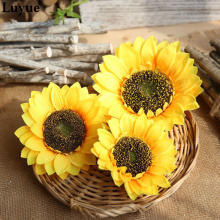 Artificial Sunflower Silk Cloth DIY Hand Made Flower Foam Flower Heads Wedding Decor Garden Flower Wreath Petals