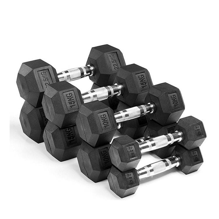 OEM Factory Price Gym Equipment Weight Lifting Rubber Coated Hex Dumbbell