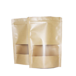 custom kraft paper stand up zipper resealable bag packaging ziplock pouch with window