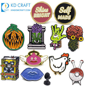 Wholesale promotional cheap custom metal stamped embossed logo enamel badge with safety pin