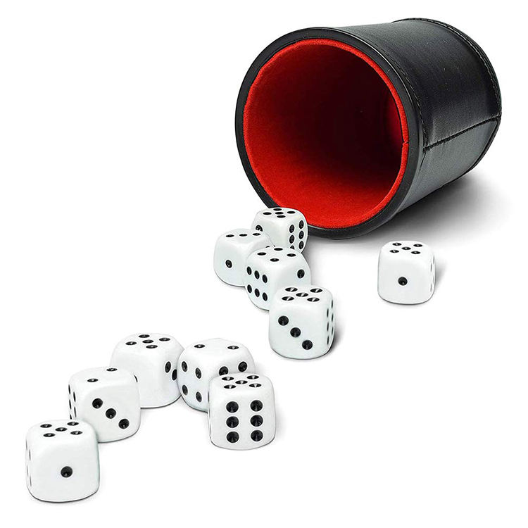 Hot Selling PU Leather Liars Dice Cup Set with 6 Dot Dices