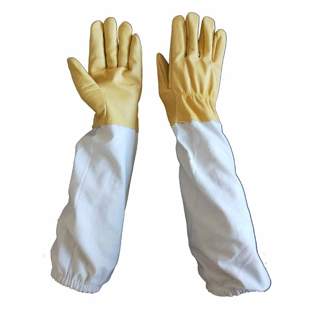 Long Sleeves Sting Proof Cuff Premium leather White Goatskin Long Cuff Tig/Mig Medium Beekeeping Gloves