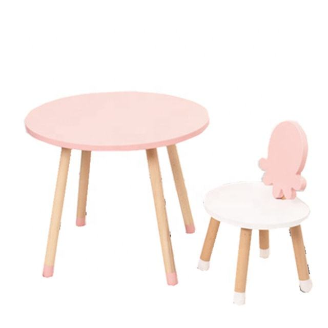 Cartoon Ocean Series Kids Table and Chair Solid Wood Children Desk Set Baby Home Furniture
