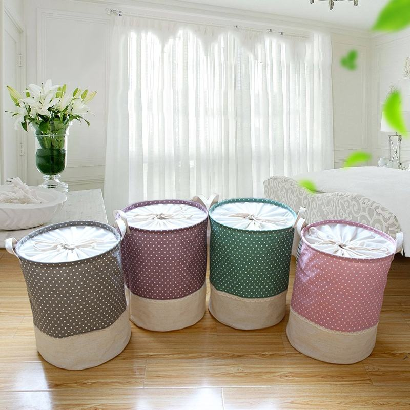 Large Laundry Basket Bag Drawstring Waterproof Round Cotton Linen Collapsible Storage Basket