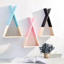 ready to ship children's room decor frame wood triangle wall storage rack decor wooden home decoration