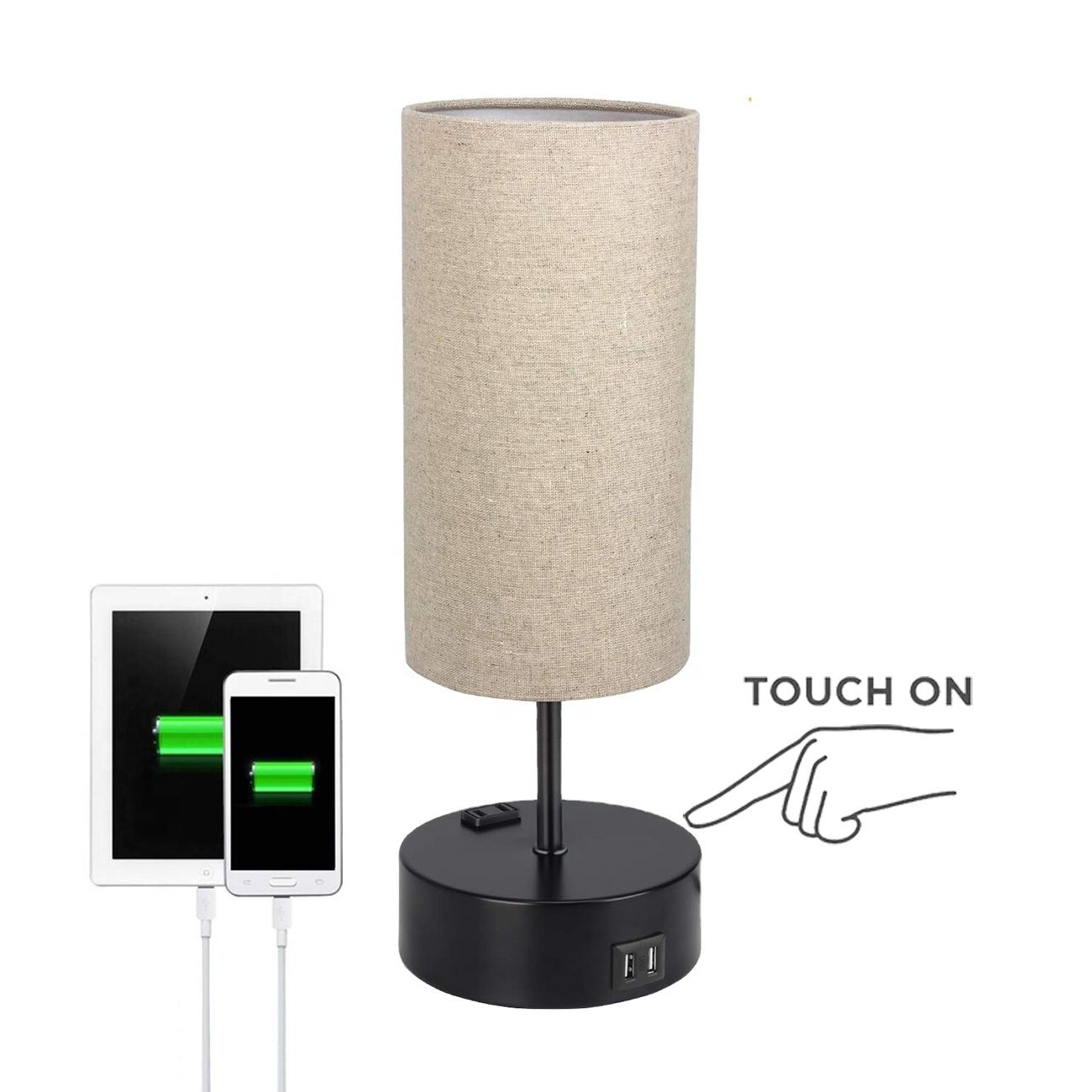 JLT-25515B Modern 3 Way Dimmable Touch Table Lamp With 2 USB Ports AC Power Outlet for Bedroom Bedside