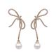 Fashion Popular 925 Silver Needle Knot Stud Pearl Drop Exquisite Jewelry Earrings