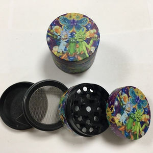 Square Herb Grinder for 50MM Design Frosted Printed Pattern Material Aluminum Metal Custom Weed Tobacco Smoking Wholesale