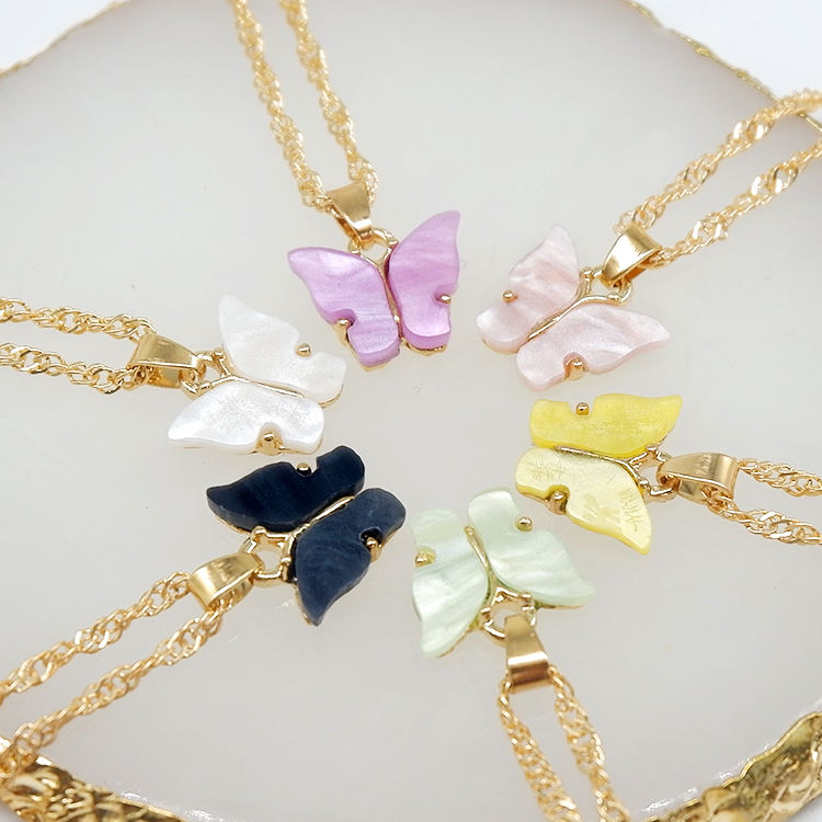 Wholesale jewelry gold plated pink acrylic charm butterfly necklace for women