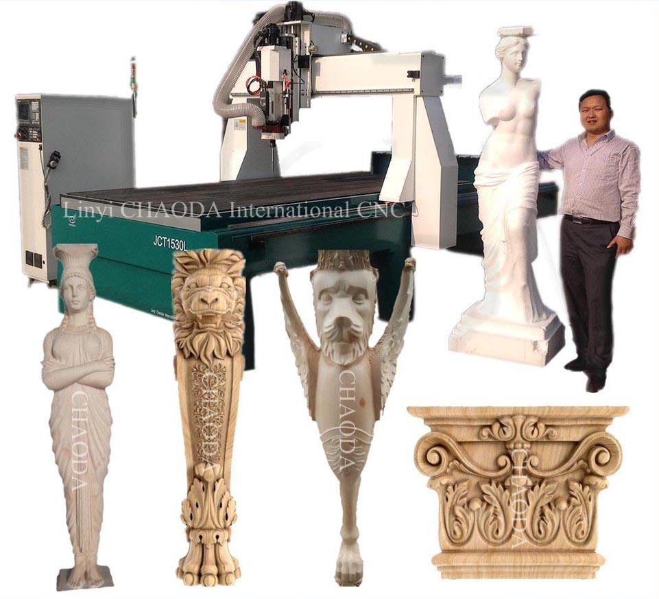 Sculpture Statue Figure Column Capital Model Foam Gypsum Wood Carving Rotary 4 Axis 5 Axis 4D CNC Machine, 4D CNC Router