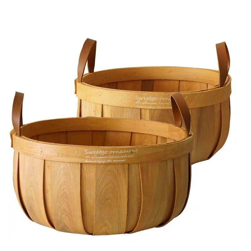Round wooden bushel basket hanging wood chip hamper gift packing basket