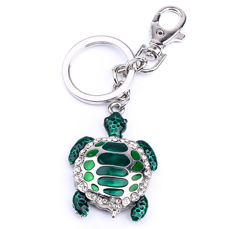 Popular ocean tourist attraction souvenir birthday purse charm rhinestone zinc alloy pendant sea turtle keychain for gift
