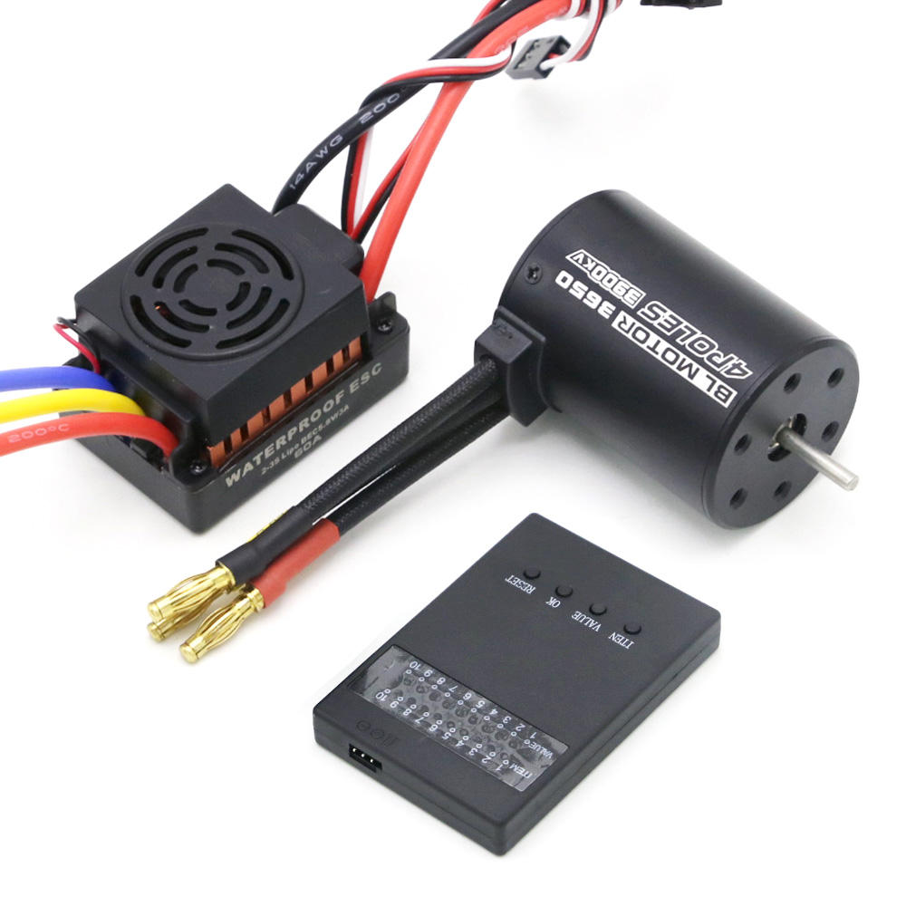 Rc Waterproof 3650 3900KV RC Brushless Motor 60A ESC Programmer combo set for 1/10 RC Car Truck
