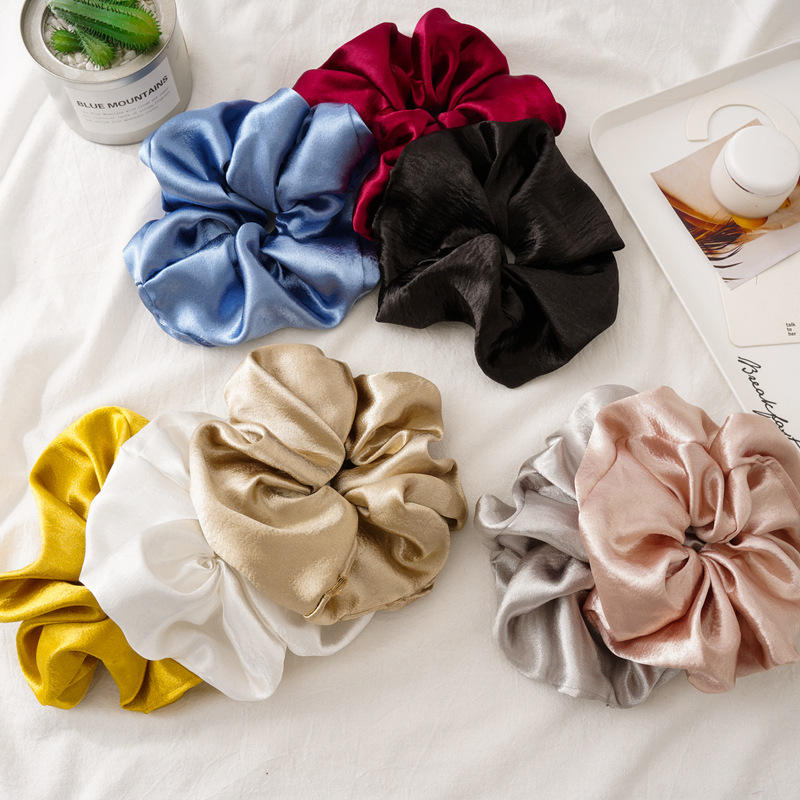 LRTOU Wholesale European Fashion Women Elastic Ponytail Holders Hair Accessories Hair Ties Solid Color Oversize Satin Scrunchies