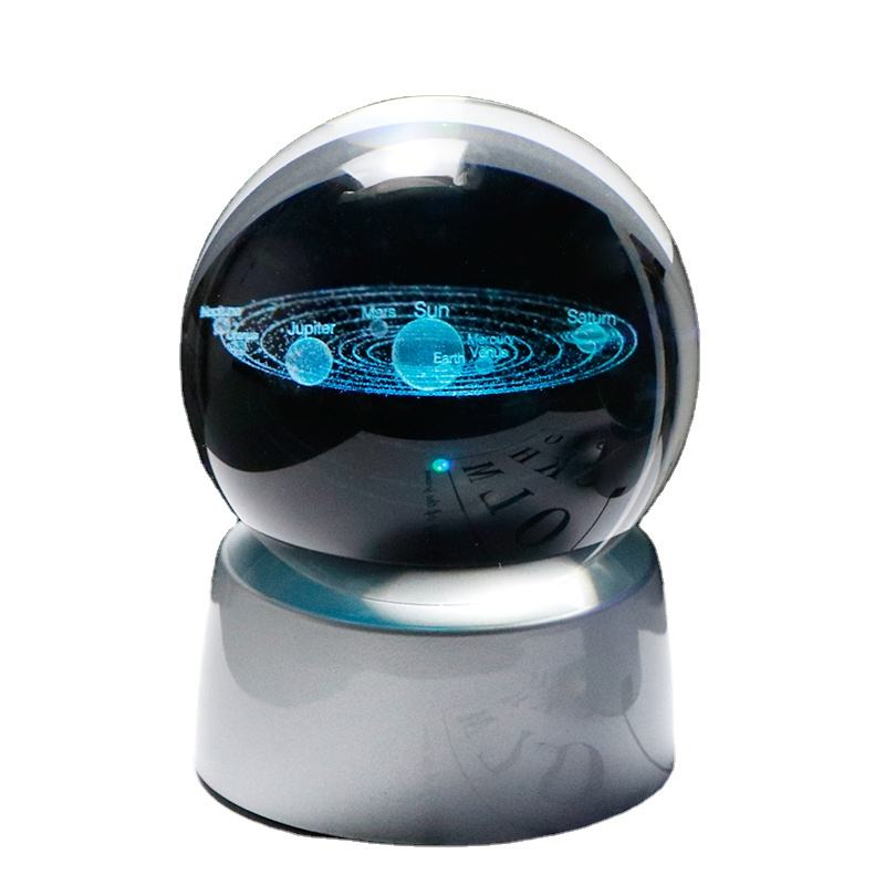 3D Laser Engraved Solar System Crystal Ball Glass Astronomy Ball