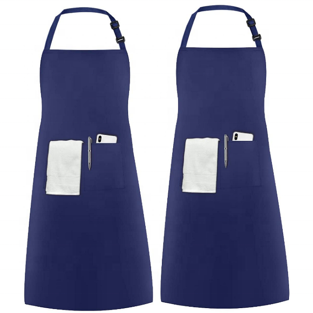 Cooking Kitchen Chef Two Pack Unisex Adjustable Bib Apron With 2 Pockets