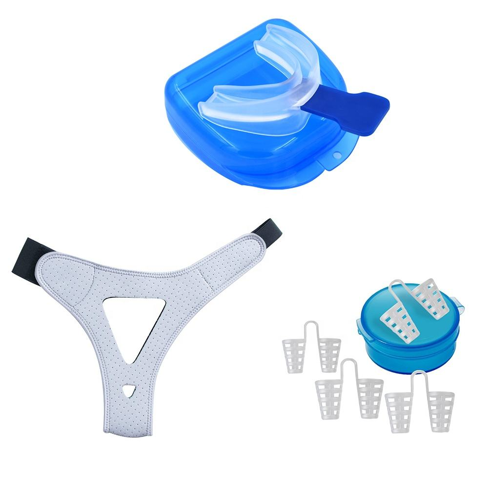 Anti snoring kit chin strap nose vent mouth guard