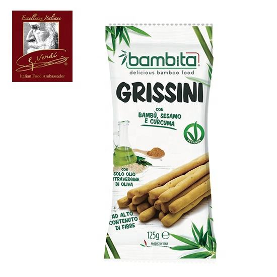 125 g Bamboo Breadsticks with Turmeric and Sesame Seeds Grissini Giuseppe Verdi Selection Breadsticks Made in Italy