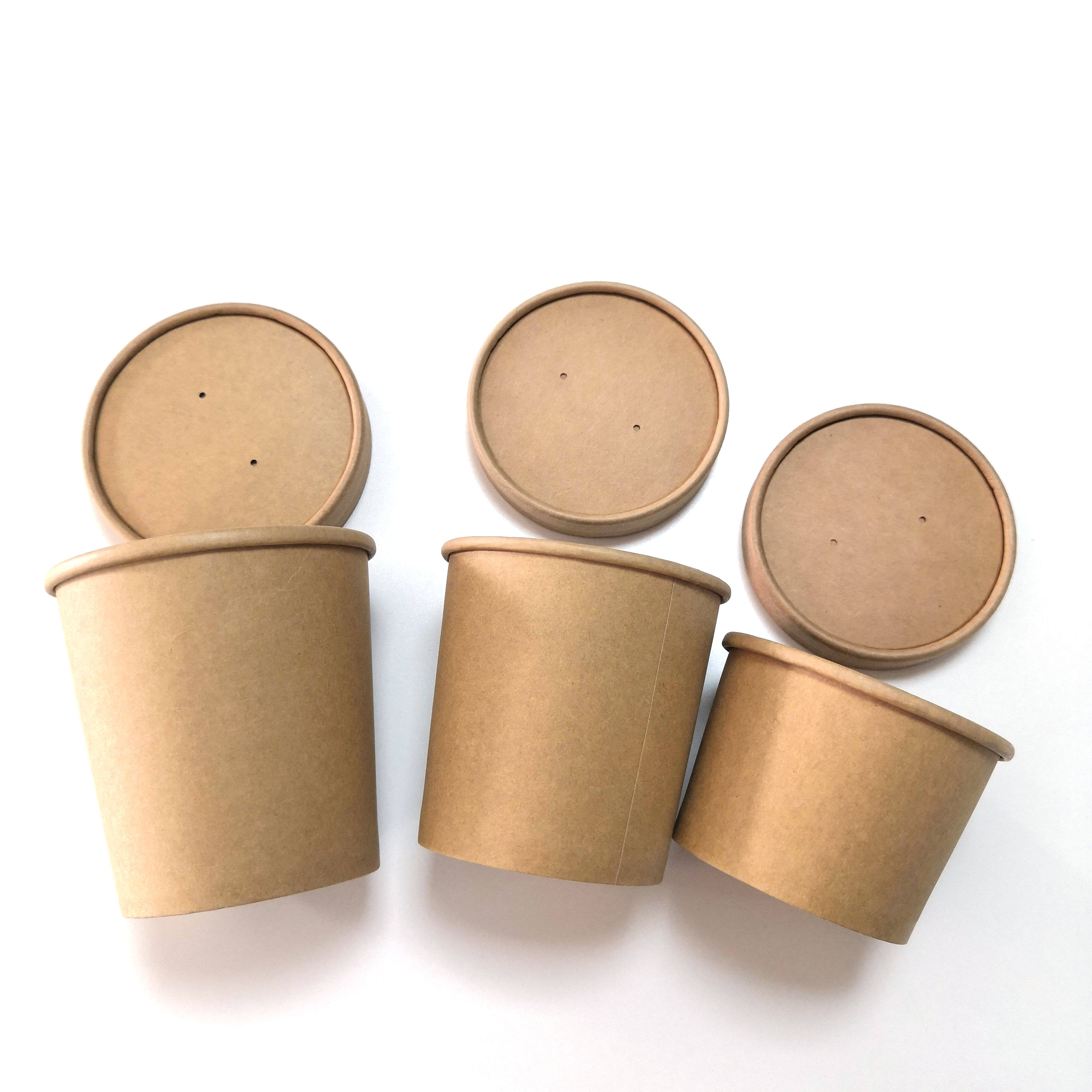Eco-friendly Disposable Kraft Paper Bowl Packaging Cup Take Away Salad Bowl with Lid
