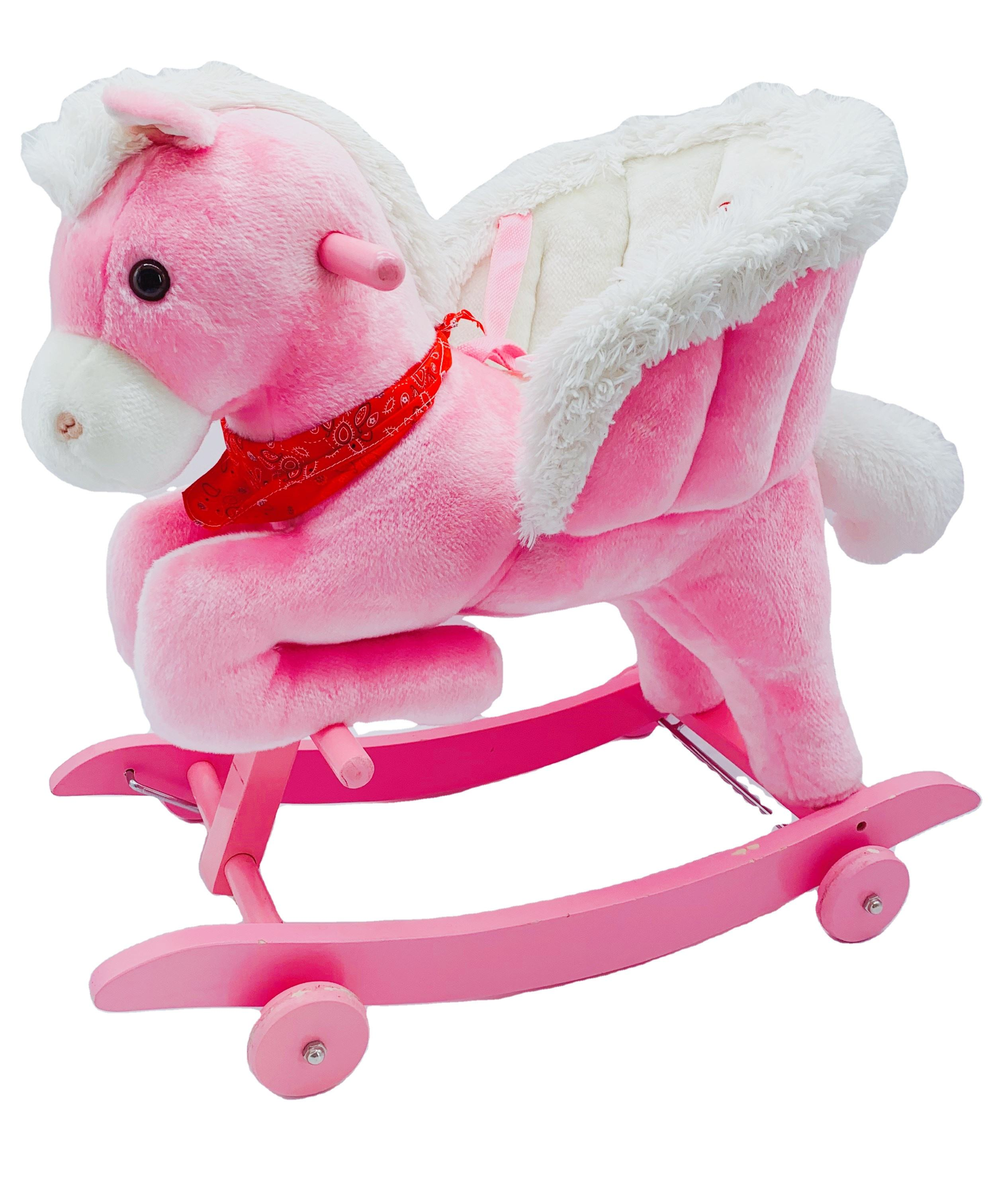 Softer plush with wooden frame and wheel kids Rocking Horse with sound playing for children toy