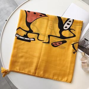 Wholesale 2020 new custom girls ladies yellow long neck scarves quality cartoon character printed cotton and linen scarf shawls