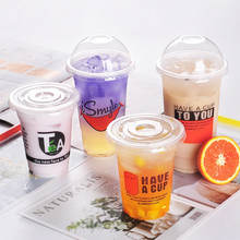 Custom printed clear 12, 16, 20, 24oz PP PET transparent disposable plastic cup with lid