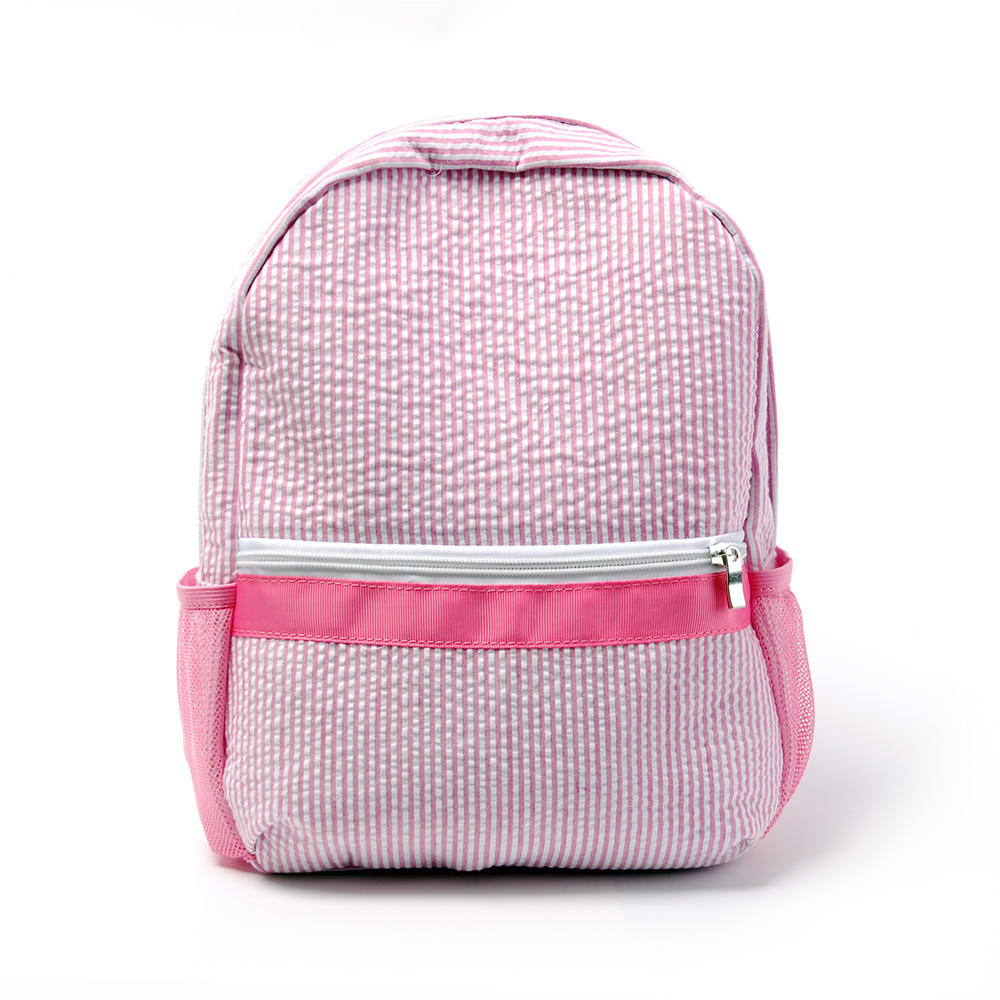 Wholesale Blanks Preppy 2-5 Years Toddler Seersucker Backpack With Side Mesh Pockets DMA6187