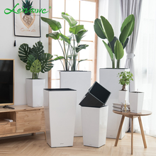 Nordic tall glazed white plastic elegant luxury cylinder giant planter smart plants container flower pots for livingroom