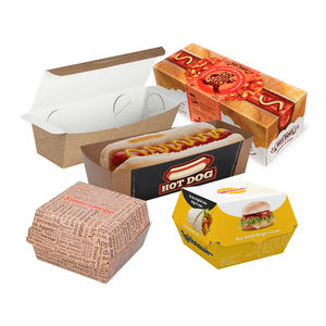 Custom design printed logo disposable mini cardboard corrugated kraft lunch fries hot dog hamburger burger packaging paper box