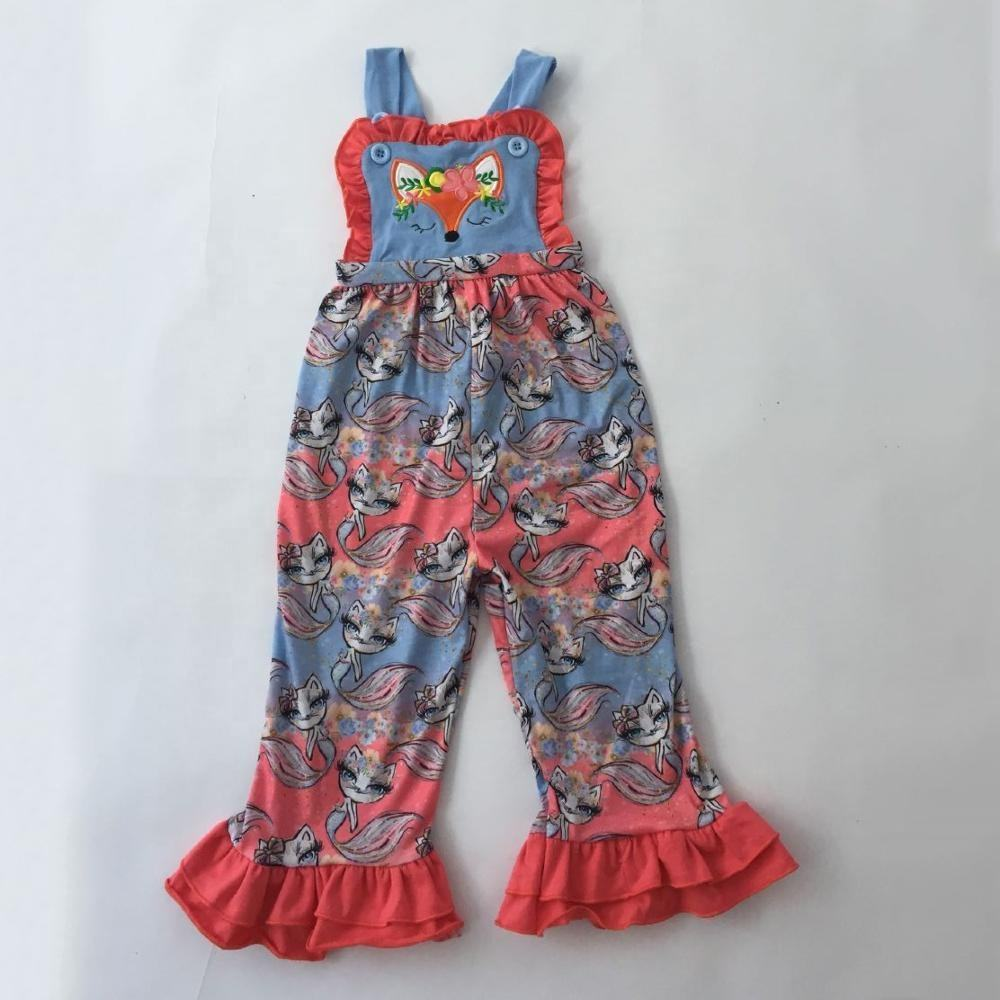 Wholesales fox applique clothes girls toddlers infant baby clothing sleeveless romper fox print romper