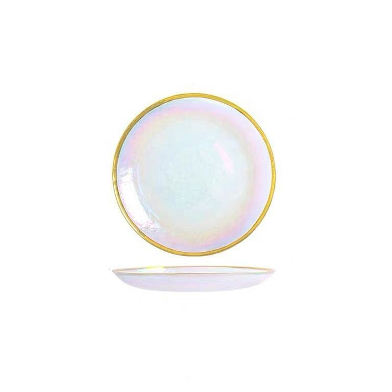 Nordic Style Gold Rim Glass Dinnerware set Dessert Bowl Glass round Western Dish Salad Tray Fruit Plate Golden glass plate