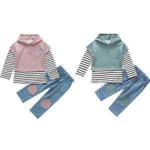 INS winter casual solid color sweater striped top and solid color personalized cotton clothing for baby unisex clothes