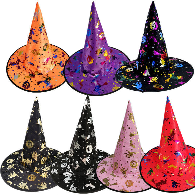 hot sale glitter halloween red pink purple blue witch hats with pumpkin and cat printed