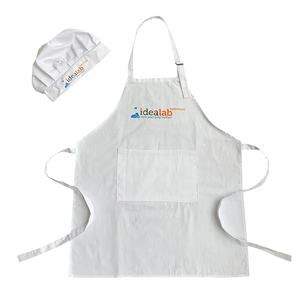 White Cheap Drawing Apron Kids Apron and Chef Hat Kids Apron Cotton