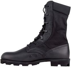 Hot Weather Black Vulcanized Rubber Jungle Army Boots With Panama Outsole