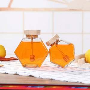 High Quality 220ml/380ml Glass Storage Bottle Glass Honey Jar with Wooden Honey Stick Spoon