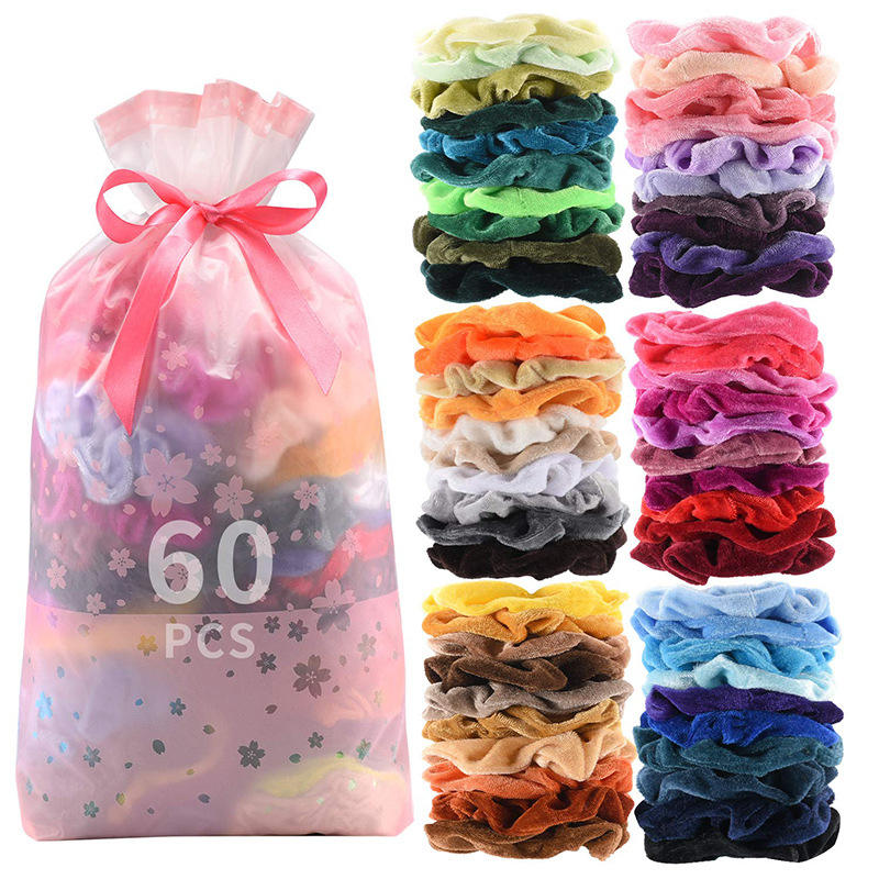 60PCS Per Sets Wholesale Fashion Elastic Band Hair Women Large Velvet Scrunchies Hair Tie