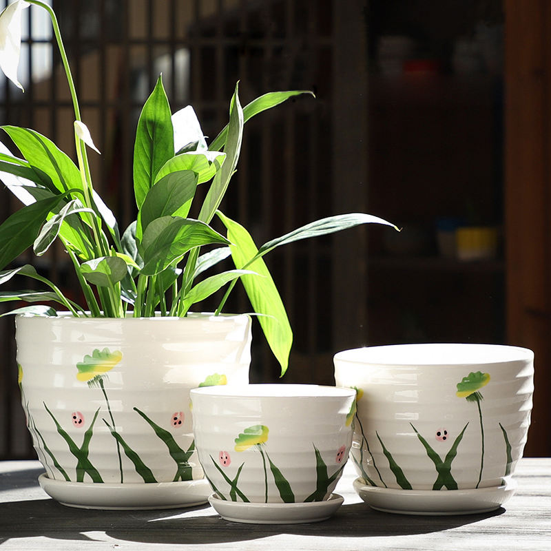 wholesale big flower pot set 3pcs ceramic Plant pot with saucers