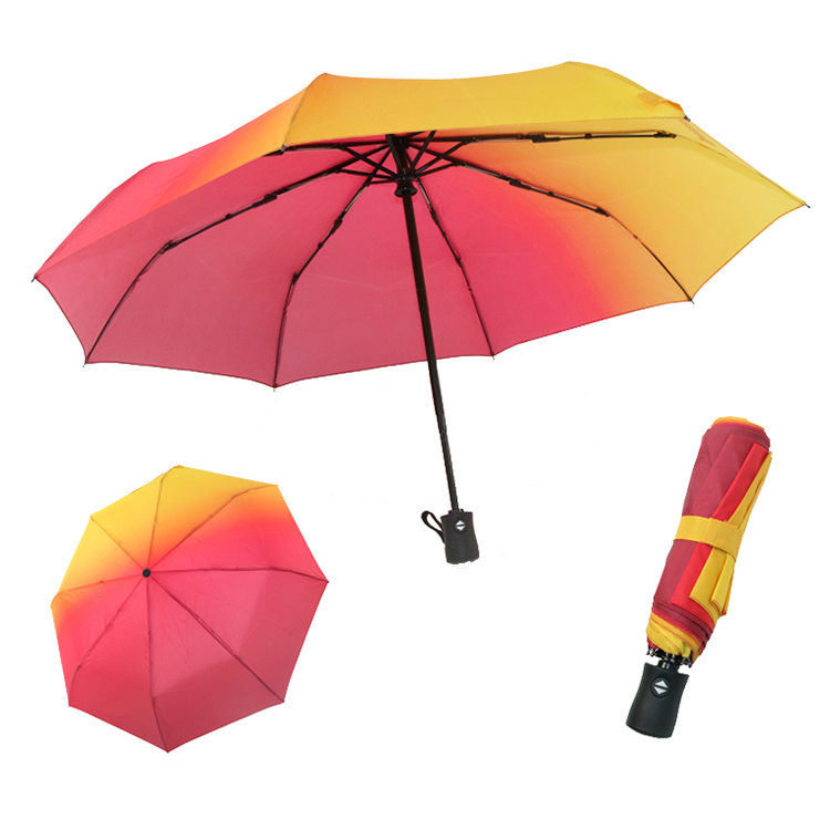 Auto open all position advertising windproof gradient 3-fold 8 ribs umbrella