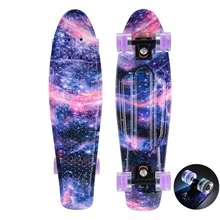 27 inch Cruiser Skateboard Plastic Skate Board Retro Graphic Galaxy Starry Floral Penny Style Board