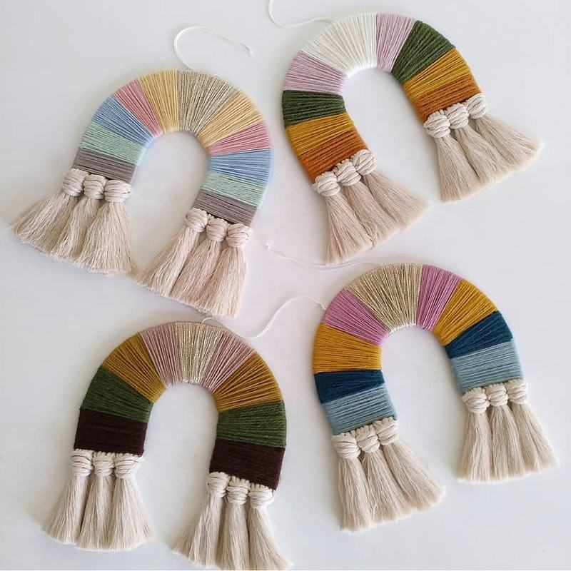 Nordic style Handmade Macrame rainbow Shape Cotton Tapestry Wall Hanging Ornament Baby Nursery Room Home Decoration