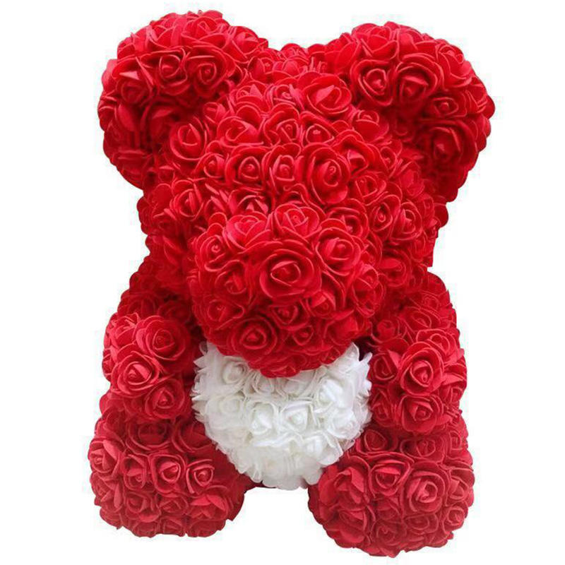 25CM Heart Bear Wedding Party Decoration Valentine Girlfriend Anniversary Gift Foam Flower Teddy Bear Rose Bear