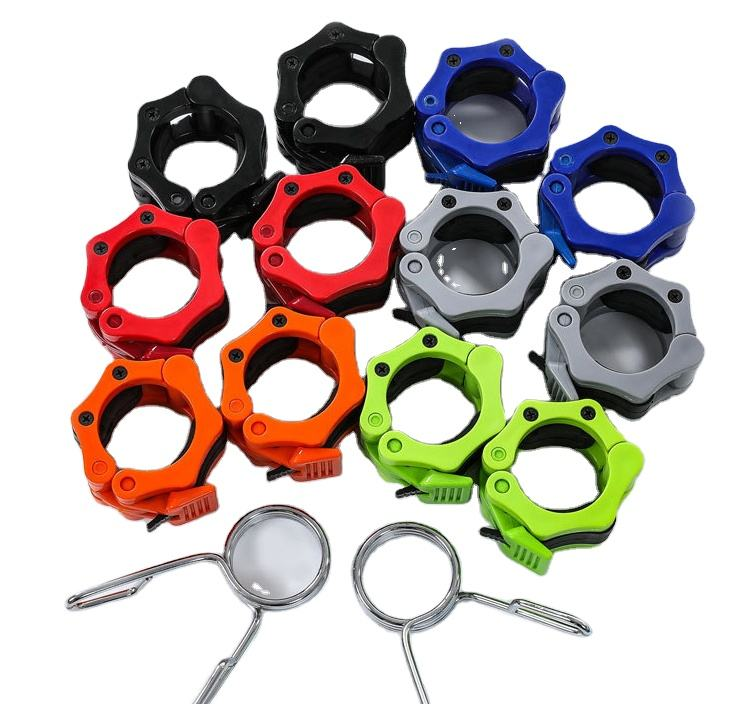 Hampool Weightlifting Lock Barbell Clips Aluminum Barbell Collar Clamps