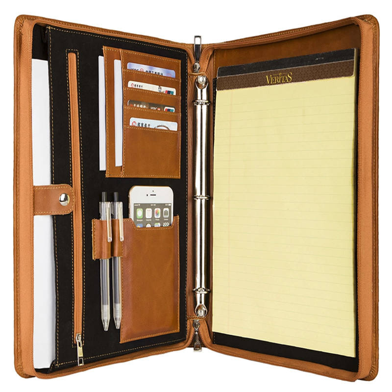 Leathertech Leather Portfolio Organizer Business Padfolio Map Met 3 Ringband, Past A4 Brief-Size Notepad