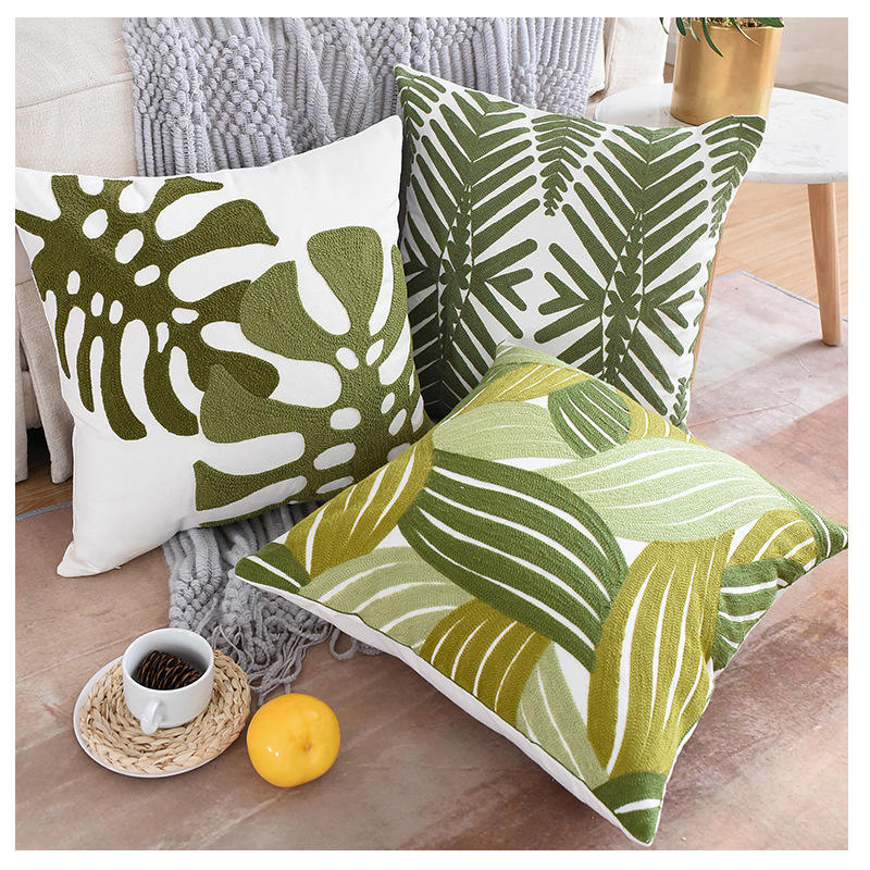 100% Cotton Stitch Embroidered Sofa Cushion Pillow Cover