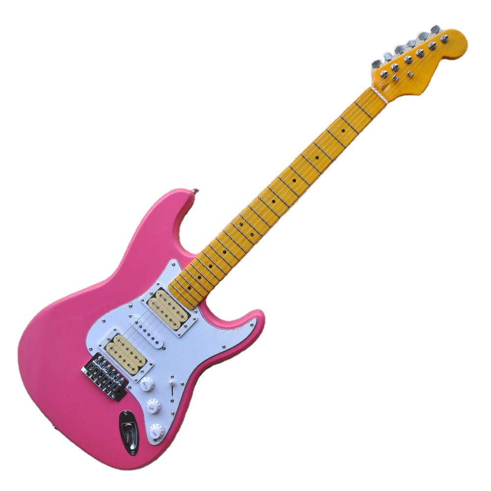 Flyoung Hot Selling Stringed Instruments Cheap Chinese Guitar St Pink Electric Guitar HSH Pickups