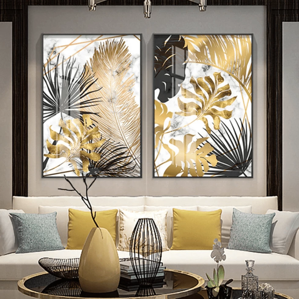 Wholesale abstract design Wall Art Golden Leaf wall art Canvas stretched canvas painting