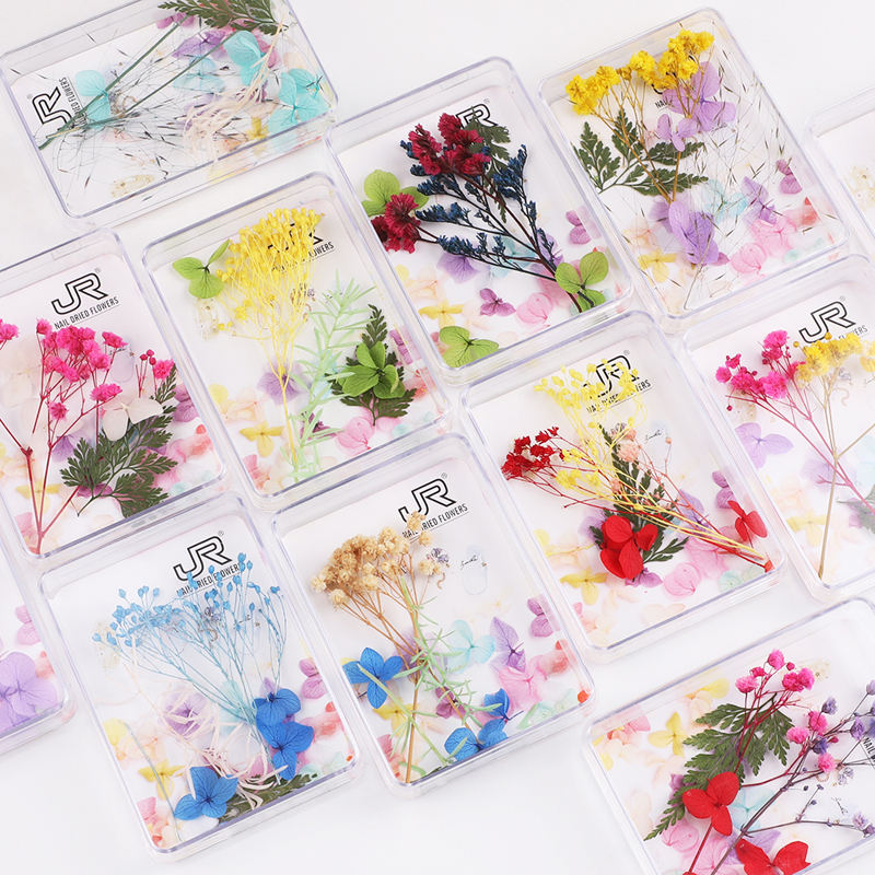 2020 new design colorful natural dry flower nail art DIY decoration mixed packing nail art dried flowers