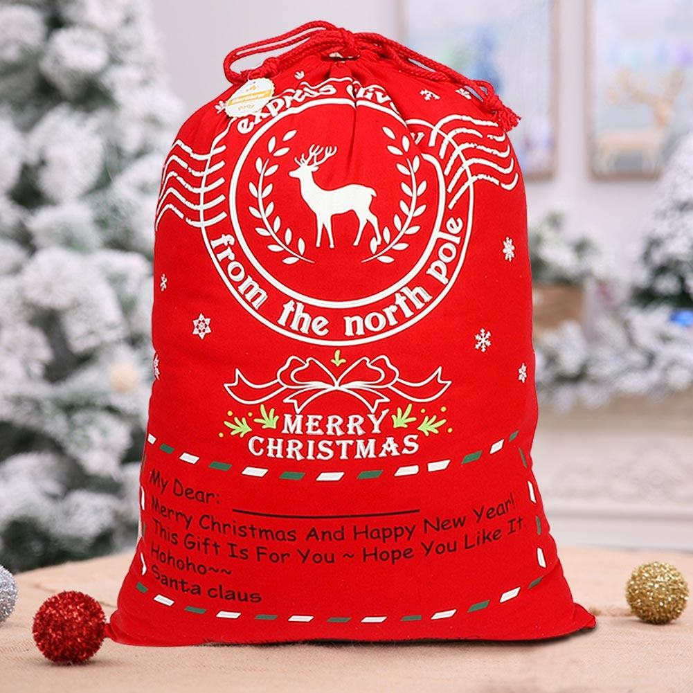 Wholesale Cotton White And Red Large Christmas Santa Canvas Gift Bags with Drawstrings